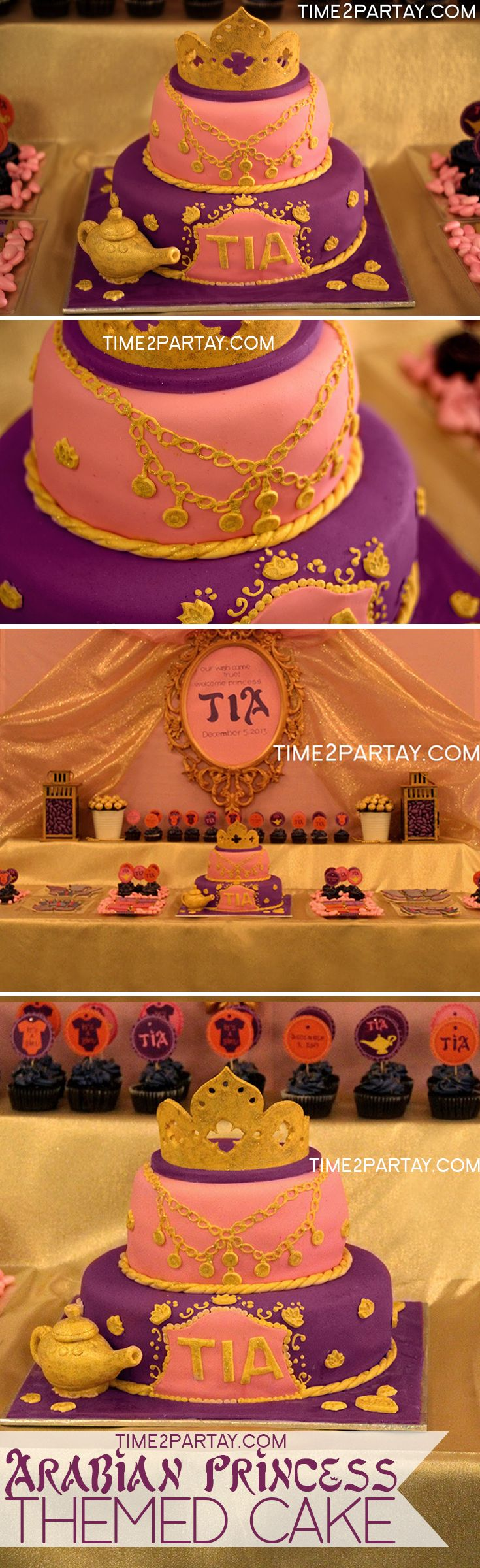 Arabian Princess Tia Has Arrived {A Welcome Baby Party}. The beautiful and very detailed cake by Sukkar Cakes. #arabian #princess #jewels #cake #sweets #purple #arabic #birthday #baby #shower #desserts
