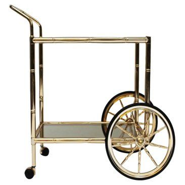 Check out this item at One Kings Lane! Bamboo-Style Brass Bar Cart