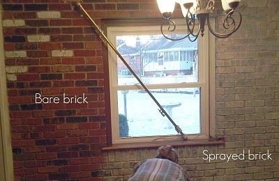 How to use a spray bottle to paint brick giving it a white washed look