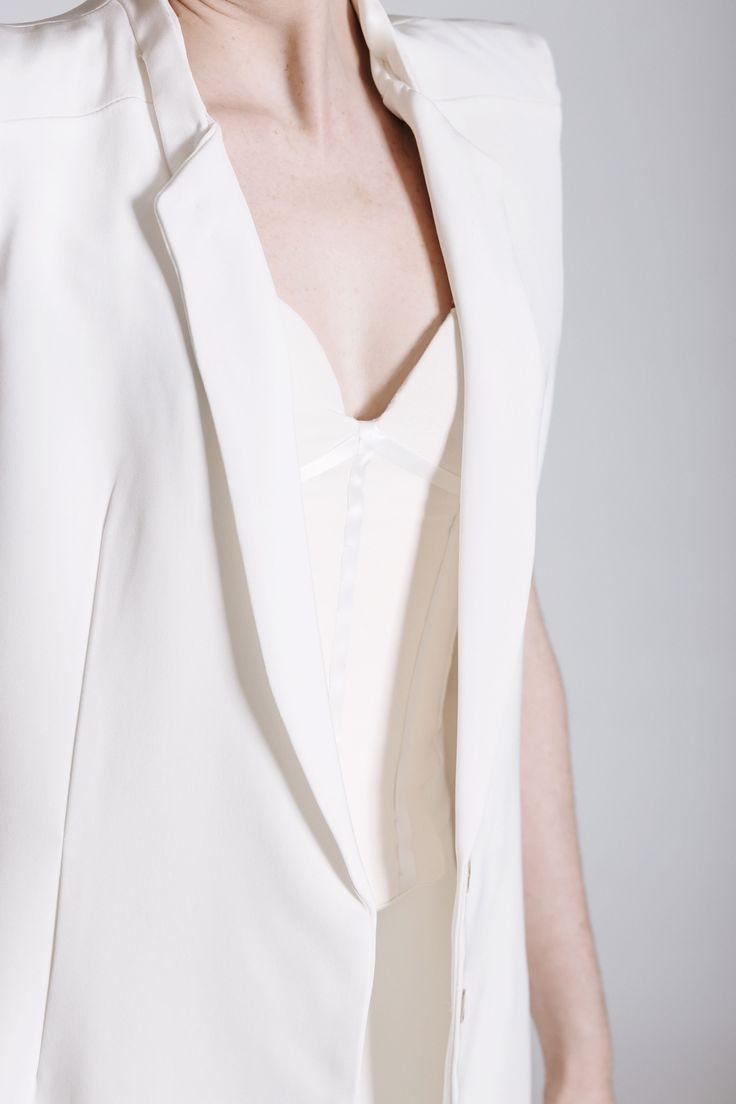 Androgynous Style. Women's White Wedding Suit. Same-sex wedding idea. THE NEW BRIDE non-wedding dress. Champagne corset.
