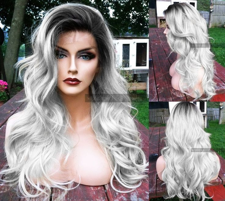 USA // OMBRE SILVER GRAY Lace Front & Skin Top Heat OK White Dark Roots Grey Wig #Unbranded #FullWig
