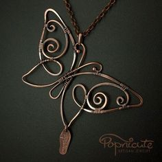 Wire Jewelry Pendants | Butterfly Spread Wings Wire Wrapped Copper Pendant Handmade Necklace