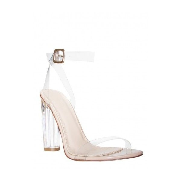 Anastasia Perspex Nude Barely There Heels : Simmi Shoes - Love Your... (€45) ❤ liked on Polyvore featuring shoes, pumps, strap shoes, perspex shoes, nude strappy shoes, lucite shoes and nude court shoes