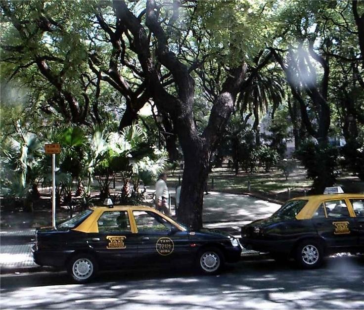Typische gelb schwarze Taxis in Buenos Aires der Hauptstadt von Argentinien.