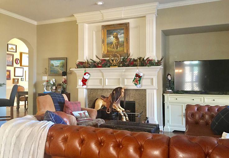 Christmas decor mantle monarch sofa chesterfield plaid style