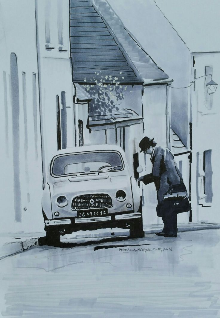 Renault 4 -Drawing Copic on paper 21x30cm