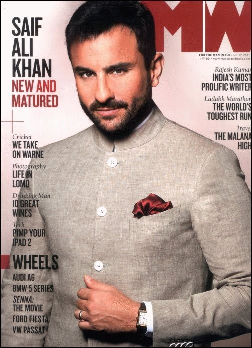 Saif Ali Khan looking elegant in a bandhgala for Man's World cover shoot