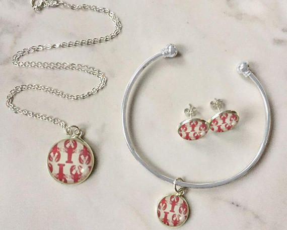 Lobsters Jewelry Lobster Necklace Lobster Bracelet Lobster Lobster Jewelry Pink Charm Lobster Necklace