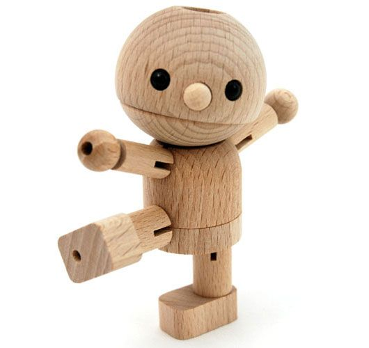 Mu Doru: Happy Mu's head and legs bend to pose and dance. Made of beech and rubber. 10x6x4.5cm. Japan. $20