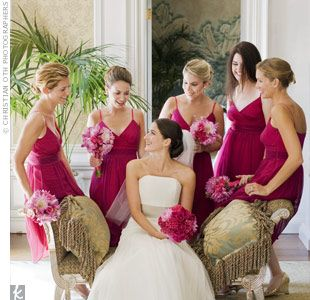 A little lighter flowers for the girls.    All five bridesmaids wore the same knee-length dress by Thread. The V-neckline, slight ruching, and spaghetti straps looked very flattering on everyone. Another bonus: The dresses didn't look like a traditional bridesmaid dress, so they could definitely b...