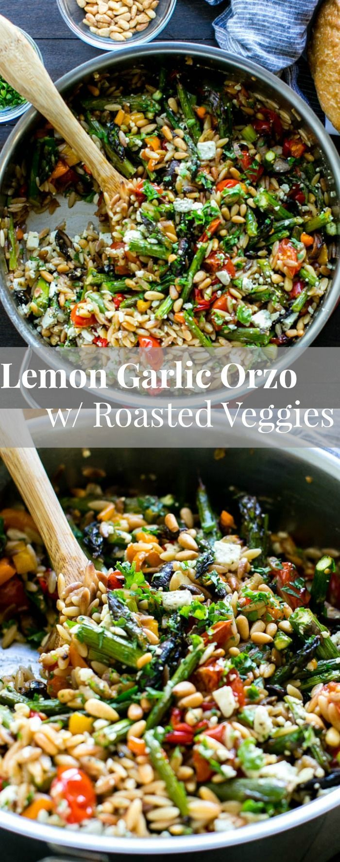 Lemon Garlic Orzo with Roasted Vegetables, feta and pine nuts is packed with texture and flavor. Delicious served warm or chilled and makes fabulous leftovers or addition to a picnic, or pot luck. Vegetarian. | Pasta | Salad Skin Nutrition