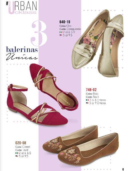 Balerinas Cklass. Balerinas oro, balerina con talon cubierto, balerinas con estampado. Zapatos bajos de mujer, calzado de moda.
