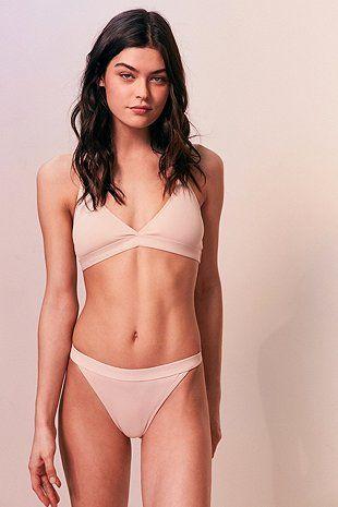 Evil Twin Riley Beige Triangle Bikini Top - Urban Outfitters
