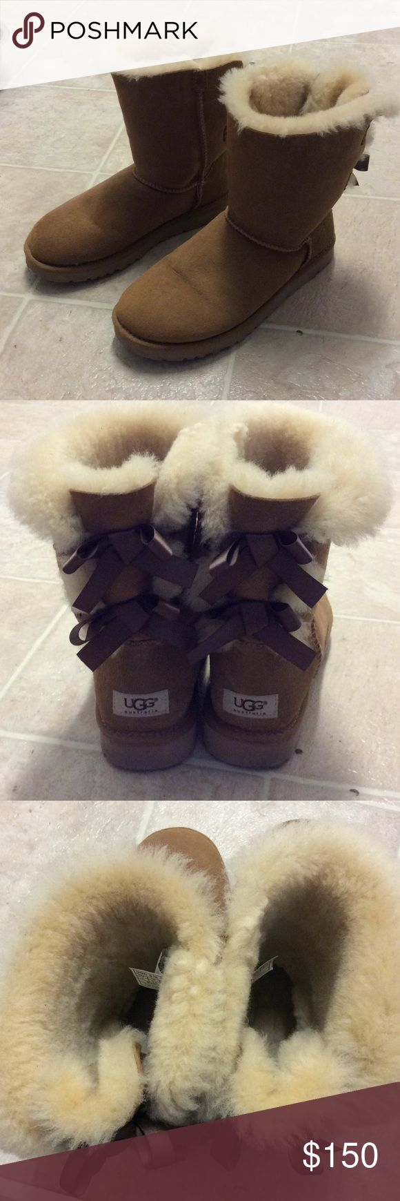 Short Tan Bailey Bows Uggs Size 7 Looking to clean out my closet and found some of my fav Uggs I have to let go. Short Tan Bailey Bows Uggs Size 7. Gently worn. No smell.  Original price tag $205 asking 150 or best offer. NO TRADES. AUTHENTIC UGGS UGG Shoes Winter & Rain Boots