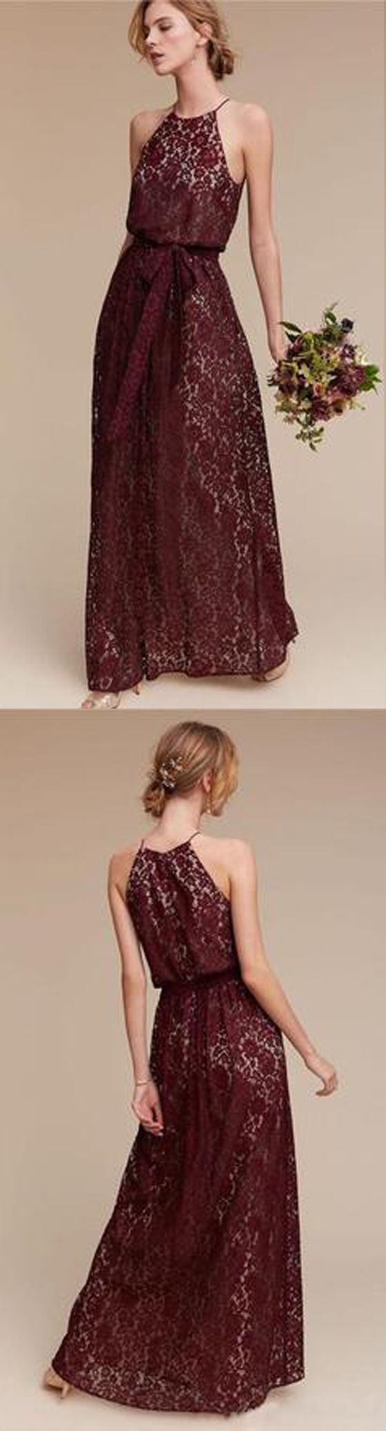 Lace Maroon Long Bridesmaid Dresses for Wedding Party, PM0812 #bridesmaidsdress #wedding #bridesmaids
