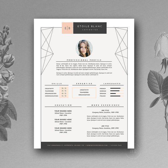 Unique Resume Design And Media Creative Cv Template Stylish Etsy Resume Design Creative Resume Design Professional Resume Templates