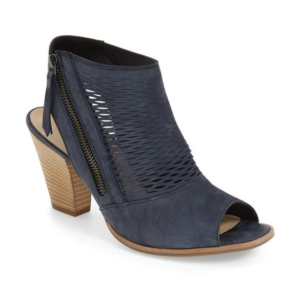 """Women's Paul Green 'Willow' Peep Toe Bootie "" (€315) via Polyvore featuring shoes, boots, ankle booties, navy leather, peep toe ankle boots, navy blue ankle boots, leather peep toe bootie, cut-out ankle boots e peep toe bootie"