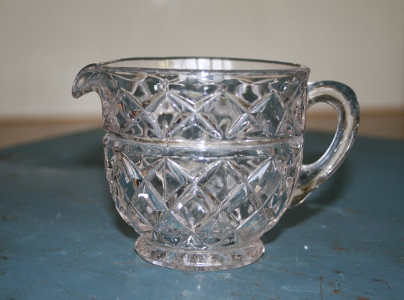 Vintage Milk Jug or Creamer Clear Glass by TheColonies on Etsy, £15.00