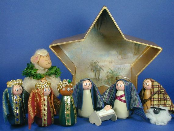 Do you have space issues? This is the perfect Nativity for you. All the parts fit back into star-shaped box to store. The box is finished