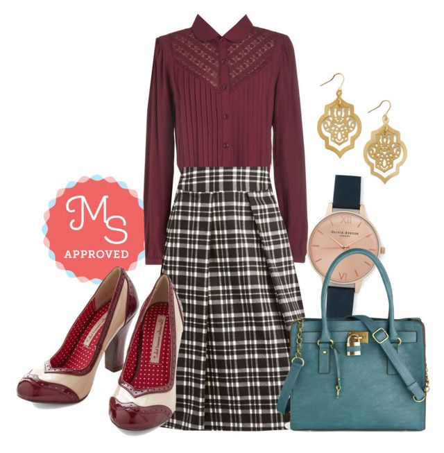 """""""Crisscross the Map Skirt"""" by modcloth ❤ liked on Polyvore featuring moda, Myrtlewood, Olivia Burton, Melie Bianco y But Another Innocent Tale"""