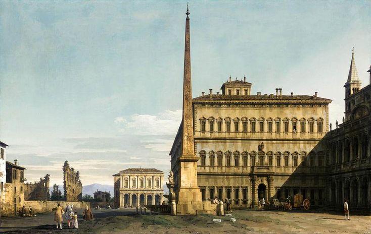 Rome: View of the Piazza di San Giovanni in Laterano, c.1744, Bernardo Bellotto - WikiArt.org