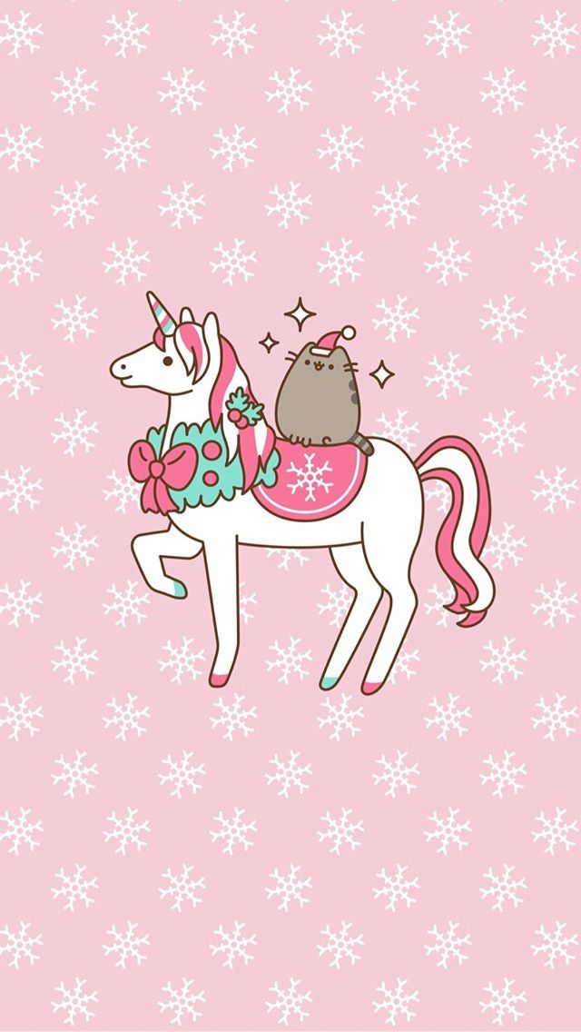 Christmas Pusheen On A Unicorn Phone Wallpaper Background Pusheen Cat Kawaii Wallpaper Pusheen Christmas