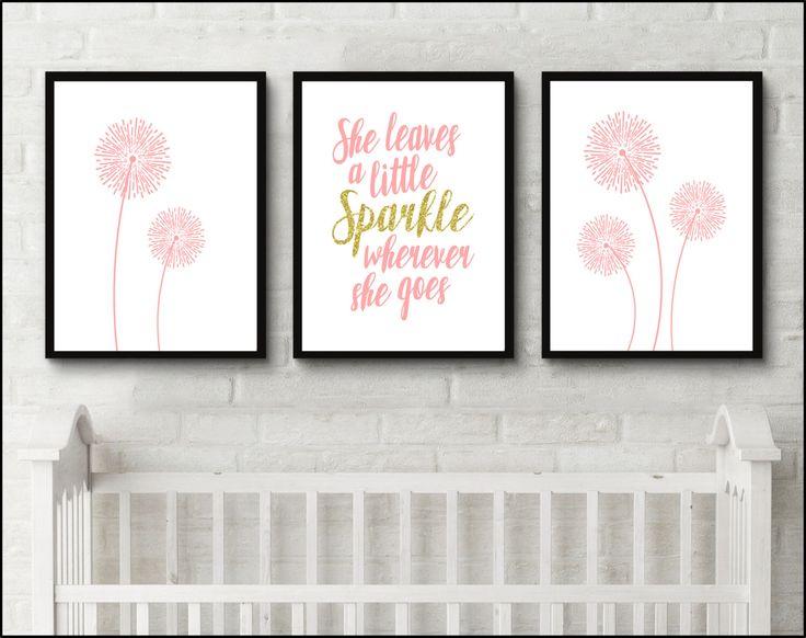 Dandelion nursery flower art she leaves a little sparkle wherever she goes nursery Printable digital Wall Art Baby girl teen nursery by JessicaPatelDesign on Etsy https://www.etsy.com/uk/listing/399366021/dandelion-nursery-flower-art-she-leaves