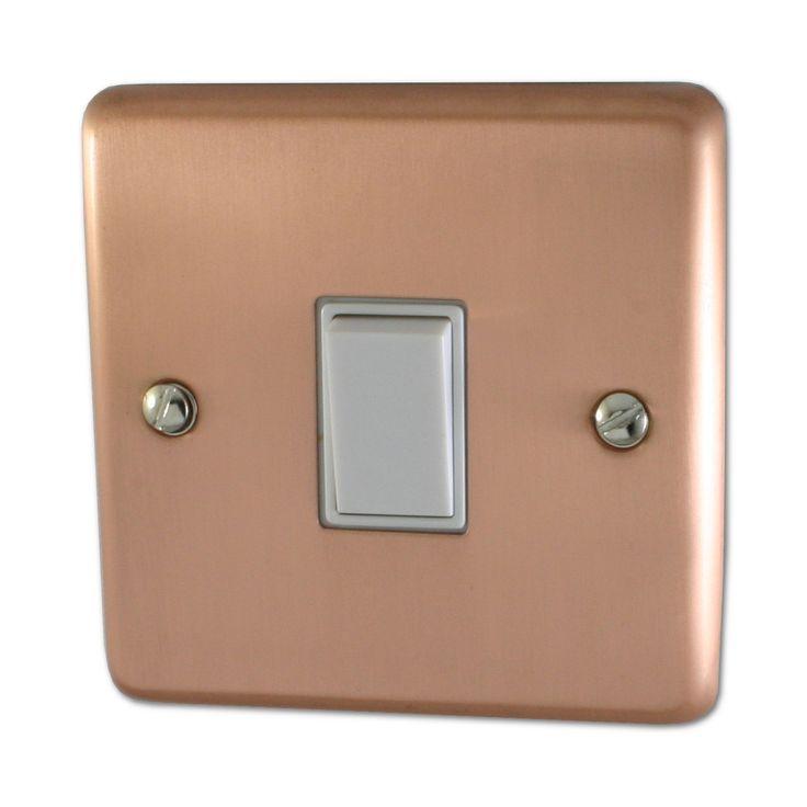 Rose Gold Light Switch 1 Gang White