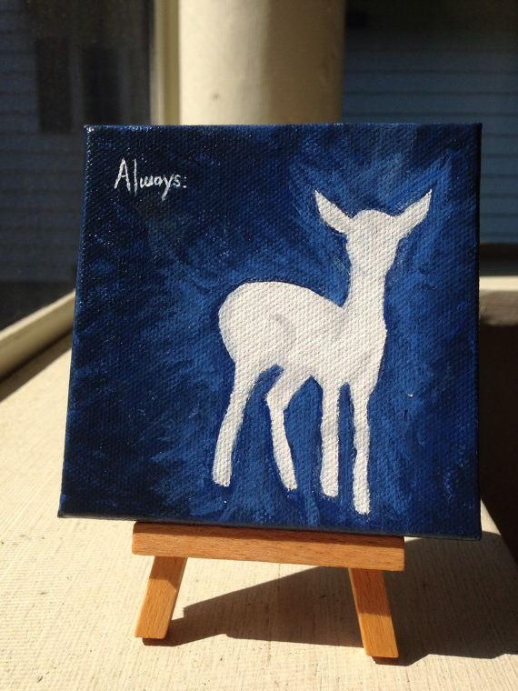 """Doe Patronus 4x4 Acrylic on Canvas with 5"""" easel by WallflowerBlossoms, $25.00 I just started a shop on etsy. Please visit and repin/send to people you think would be interested."""