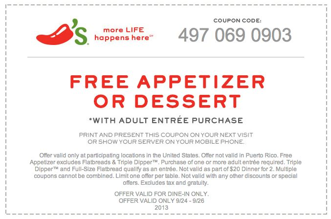photograph relating to Chilis Printable Coupon identified as Chilis no cost dessert coupon may possibly 2018 : Busy function