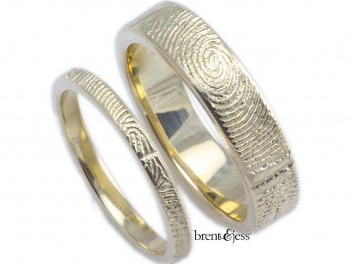 Spectacular Brent u Jess k Yellow Set of Wedding Bands with Your Love us Fingerprint Wrapped around the