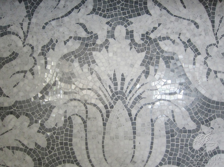 Kingston Lacey in Calacatta Tia and Bardiglio.  -Rogers & Goffigon for New Ravenna Mosaics
