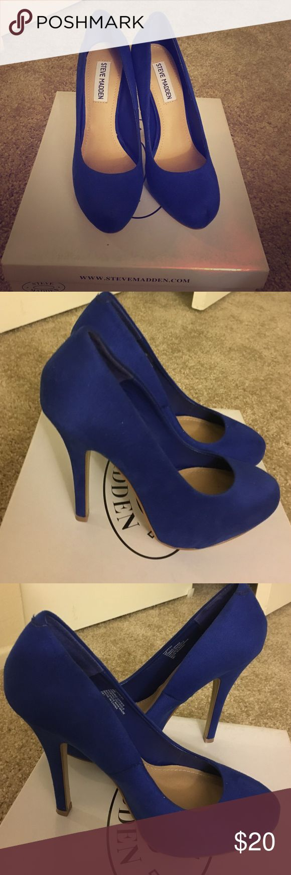 Steve Madden royal blue pumps size 6 Fabric upper, true to size, royal blue Steve Madden pumps size 6. Worn once, sold as is, clean upper no scratches. Steve Madden Shoes Heels
