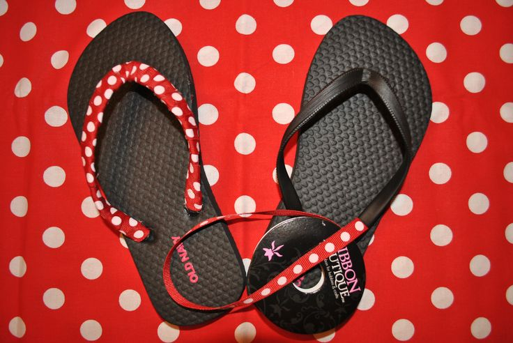 Ribbon Wrapped Flip Flops - Here's a simple, inexpensive way to dress up plain flip flops.  Start at one end and hot glue as you wrap ribbon, overlapping a little as you go.  This cute polka dot ribbon came from Hobby Lobby.  These would be great for a Disney vacation!