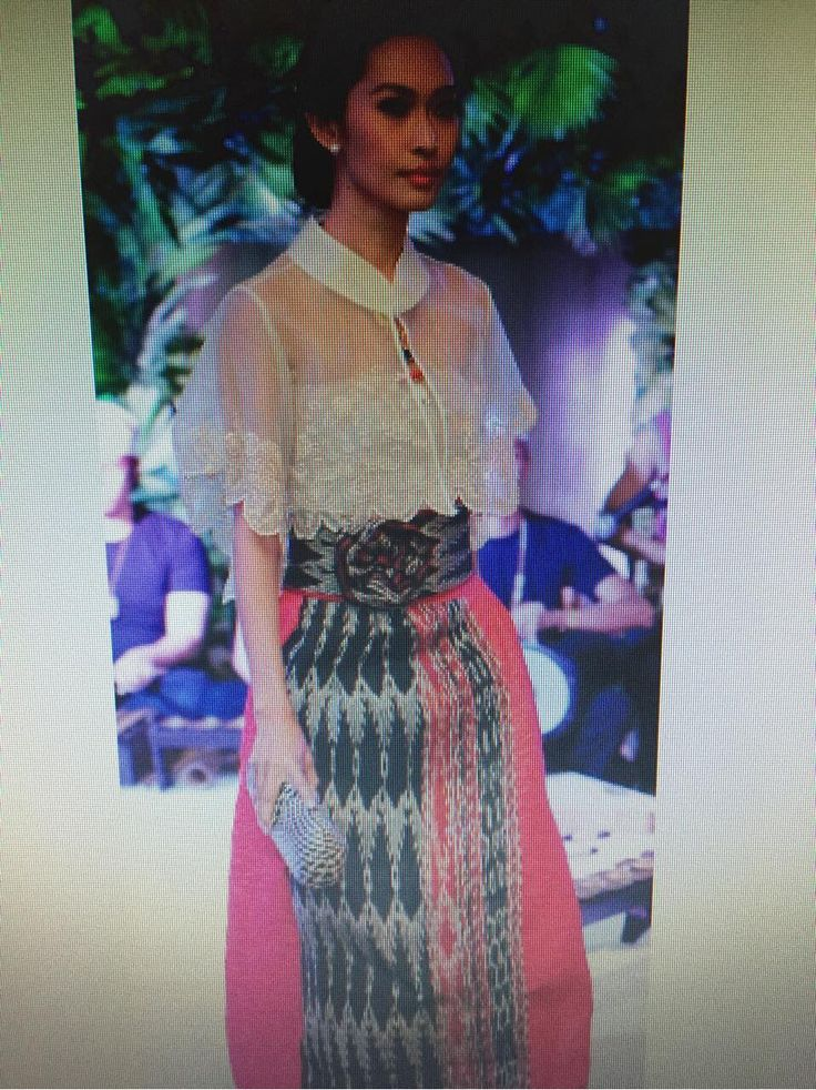 Embroidered capelet with abaca tinalak and cotton skirt from Kultura