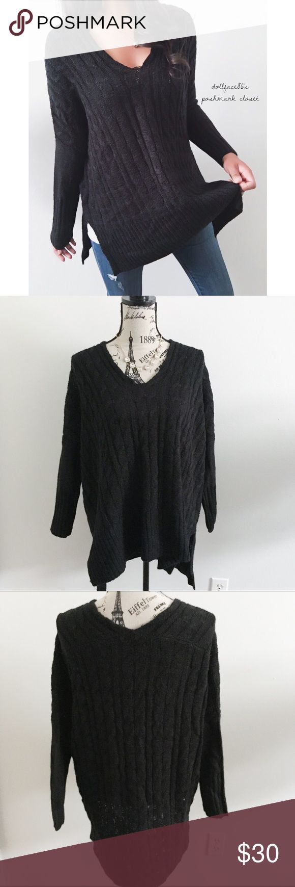 """Black Cable Knit Dolman Sweater ✦   ✦{I am not a professional photographer, actual color of item may vary ➾slightly from pics}  ❥chest:25.5"""" ❥waist:25"""" ❥length:28"""" ❥sleeves:25"""" collar-cuff ➳material/care:acrylic+7% polyester/machine wash  ➳fit:true ➳condition:gently used   ✦20% off bundles of 3/more items ✦No Trades  ✦NO HOLDS ✦No lowball offers/sales are final  ✦‼️BE A RESPONSIBLE BUYER PLS ASK QUESTIONS/USE MEASUREMENTS TO MAKE SURE THIS WILL WORK FOR {YOU} BEFORE PURCHASING ‼️ Boutique-So…"""