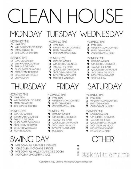 Clean house schedule--Reminds me of Flylady routines.