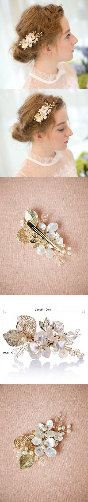 AW Vintage Gold Leaf Pearl Crystal Metal Bridal Hair Clips Barrettes Women and Girl Hair Clips Jewelry Headpiece Wedding Hair Accessories for Brides