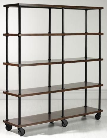 Industrial Double Bookcase. Perfect for Kitchen. Can serve as pantry, hold recipe books & store the microwave.