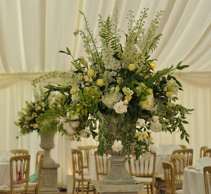 Floral Urns For Weddings: Large Summer Arrangements In Urns On Plinths