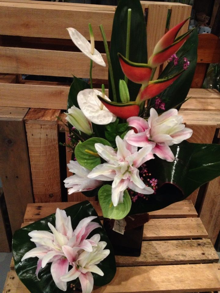 The stunning rose lilly and tropical flowers, made by Twigs Florist at Varsity Lakes