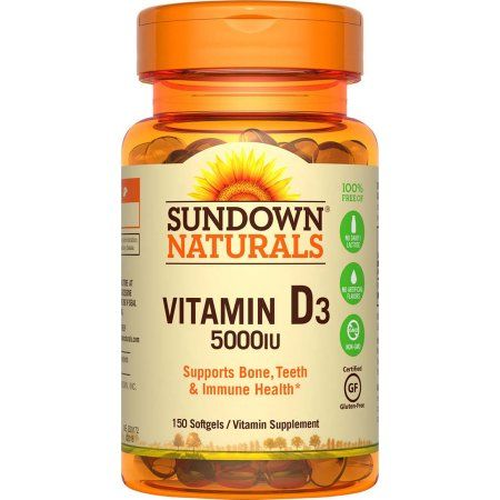 Sundown Naturals Vitamin D3 Vitamin Supplement Softgels, 5000 IU, 150 count, Multicolor