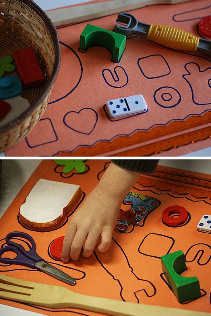 homemade shape puzzle for kids using household items - trace the items onto a sheet of paper, then give the kids the basket of items to match to the shapes!