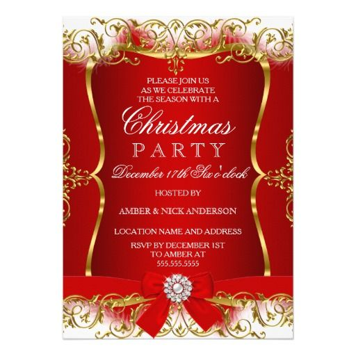 Red Gold White Damask Bow Christmas Party Invite