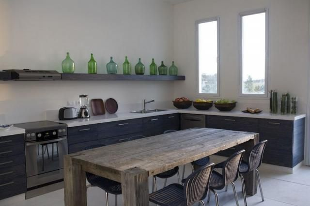 green glass collection + like rustic table