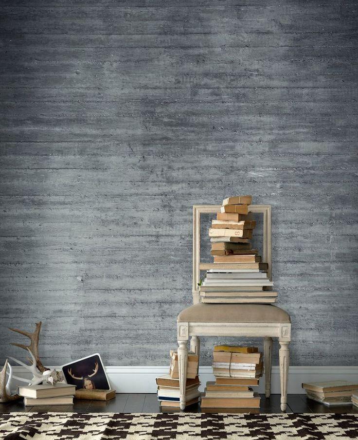 Gråt træ tapet | Fototapet | Planker | Beton | Tekstur