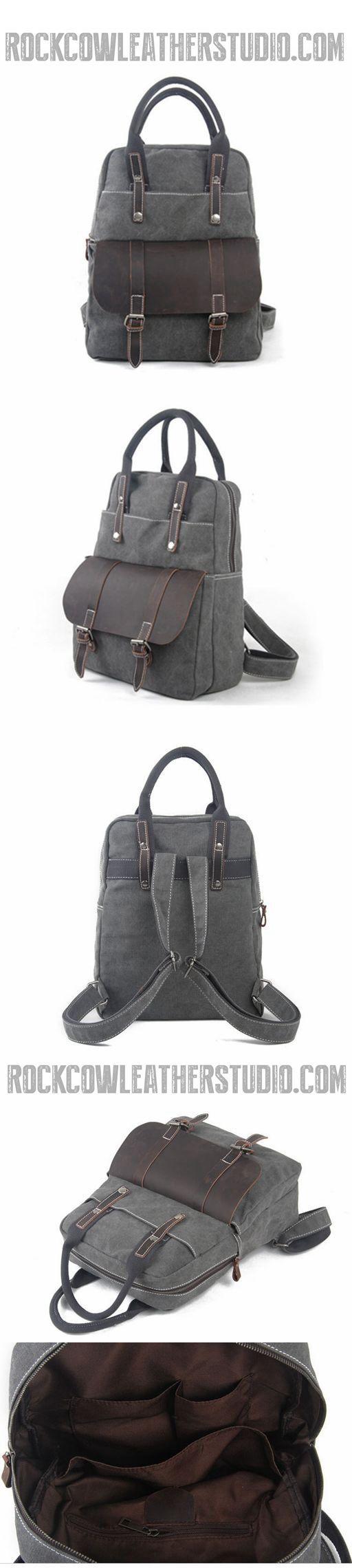 Waxed Canvas Backpack/Rucksack, Vintage School Backpack, Hiking Travel Backpack 1022
