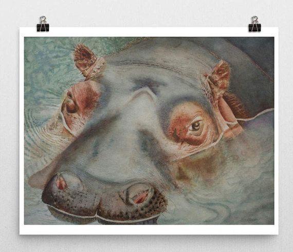 Nilpferd Hippo Kunst Aquarell Hippo Malerei Hippo Kunst Tier