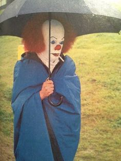 A picture of Tim Curry on the set of It in 1990.