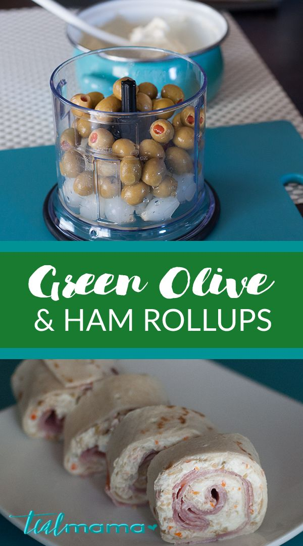 Green olive and ham rollups. Perfect appetizer for summer barbecues or special occasions such as baby showers or bridal showers. Green olives, cocktail onions, cream cheese, ham and tortillas. Yum!